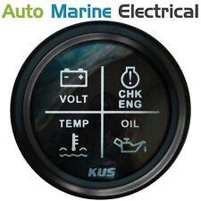 KUS Engine Warning Light Gauge - Volts, Temp, Oil, Engine - 52mm - Black Bezel