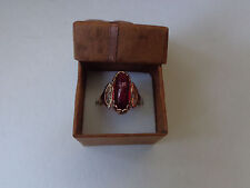 Vintage Soviet Rose Gold Ring 14K 583 Red Ruby Size 8 (18.25 mm) Russian USSR
