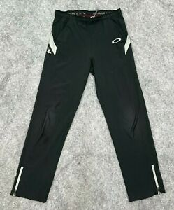Oakley Mens Activewear Pants Size Small Ankle Zip Black Gray Drawstring