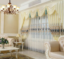 Luxury European Solid Embroidered Gauze Sweat Cloth Blackout Curtain Tulle