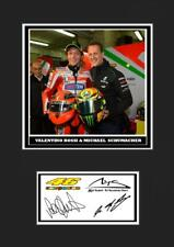 (#119) valentino rossi & michael schumacher  signed  a4 photo/mounted/framed