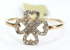 Hand Band Ring Anniversary Engagement Gift Rose Gold Diamond Clover Lucky Right