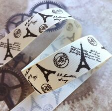 3 meters grosgrain cream ribbon with Eiffel tower 25 mm