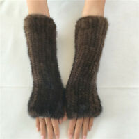 New Women's Real Genuine Knitted Mink Fur Long Fingerless Gloves Mittens Black