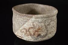 X6677: Japan Old Seto-ware White glaze Muffle painting TEA BOWL Green tea tool