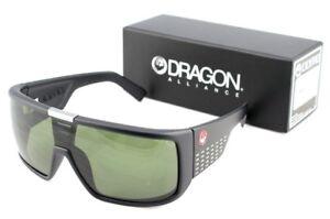 NEW Genuine DRAGON DOMO Matte Black Green Lens Shield Mens Sunglasses DR 060