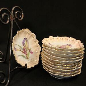 CT Tielsch 11 Fruit Dessert Bowls Hand Painted Purple Irises w/Gold 1870-1910