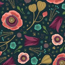 Organic Cotton Fabric, 'Forest Jewels Dark Blooms ' Cloud9 Quilters