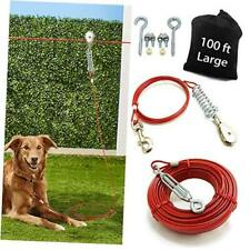 New listing Aerial Dog Tie Out Trolley System Dog Run Cable 100 ft Dog Zipline with 10ft