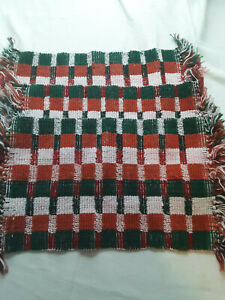 Holiday Decor Set Of 3 Placemats- Cotton 12 x18 Red/Green/White Plaid W/ Tassels