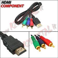 CAVO ADATTATORE CONVERTITORE HDMI MASCHIO 3 RCA COMPONENT RGB MONITOR TV PC GOLD