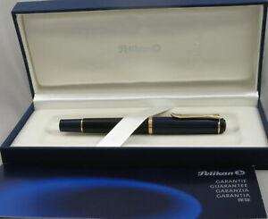 Pelikan M250 Black w/Blue Cap & Knob & Gold Trim Fountain Pen - 14ct Nib - 1990s