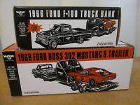 NEW ERTL ~ 1966 FORD F-100 AND 1969 BOSS 302 MUSTANG WITH TRAILER ~ WIX FILTERS