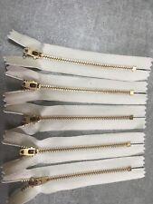 "YKK Off White (841) #4.5 Brass zippers 6"" closed bottom (5pack)"