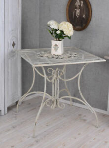 Gartentisch Shabby Chic Tisch Weiss Balkontisch Metalltisch Terrassentisch Antik