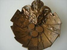 Antique Bronze Ashtray Card Holder Tray - Devil / Cards / Coins - Gambling Theme