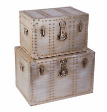 New Vintiquewise Industrial Wooden Aluminum Storage Trunk with Lockable Latches