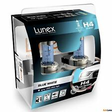 2x H4 Lunex Blue White 3700K 55/60W 12V Car Headlight Bulbs P43t Hard Case