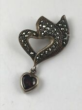 Vintage Marcasite Sterling Silver Dangling Garnet Heart Pendant