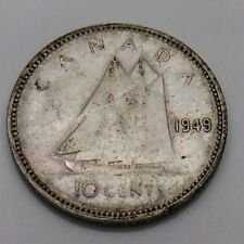 1949 Canada 10 Ten Cents Silver Dime Canadian Circulated Coin F738