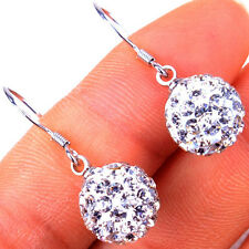 Women's Disco Ball Fashion 925 Sterling Silver Dangle Earrings Jewelry H1037