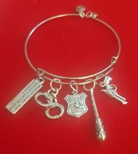 "Silver ""Police Officer"" Themed Charm Bracelet (cop, policewoman, policeman)"