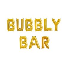 """BUBBLY BAR Letter Balloons - 16"""" Gold Letters - Champagne Bar Sign - US SHIP"""