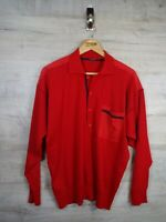 vtg Paul & Shark red 80s  sweatshirt sweater jumper ref21 Large