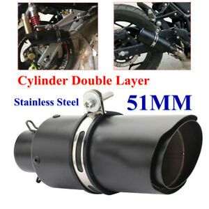 Motorcycle 51MM Mini Exhaust Pipe Muffler Cylinder 2Layer Stainless Steel w/Clip