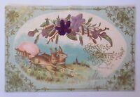 Ostern, Hase, Wagen, Osterei, Blumen, Jugendstil,   1900, Prägekarte ♥ (67056)