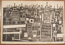 Signed Henry Kallem modernist woodblock print Manhattan city view print 11.5x17""