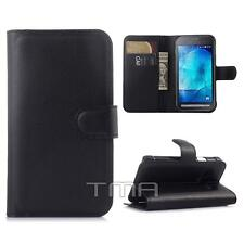 Samsung Galaxy Xcover 3 SM-G388F PU Leather Flip Wallet Stand Case Cover - Black
