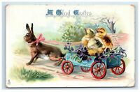 Raphael Tuck Easter Rabbit Pulling Chicks on Carriage Gladness Postcard 715