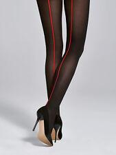 Collant sexy noir couture rouge femme ♥FIORE♥ collection JULIA 40 den T2 T3 T4