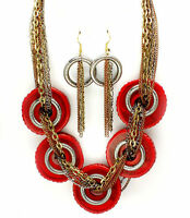 SALE Chunky Western Red Stones  Multi Strand Chains Fashion Necklace Set