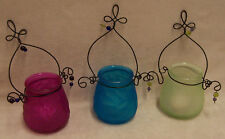 GLASS WIRE & BEADED CANDLE HOLDERS DECORATIONS LOT OF 3