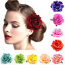 Women Rose Flower Hair Clip Brooch Pin Wedding Party Bridal Corsage 14 Colors