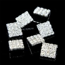 Sparkling 10 Pcs Clear Glass Rhinestone Diamante Silver Rectangle Shank Buttons
