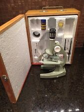 Vintage Tasco Junior Microscope 75X 300X 600X Green W/ Accessories & Wood Case