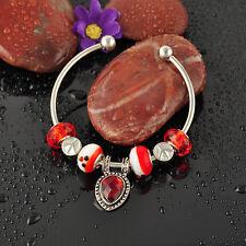 Handmade Crystal Metal With European Glass Bead Charm Cuff Bracelet Bangle S-714