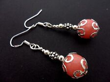 A PAIR OF PINK JADE BEAD   EARRINGS WITH 925 SOLID SILVER HOOKS. NEW..