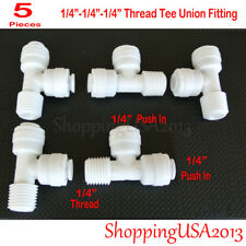 """5 Pcs Male Tee Union Fitting 1/4"""" Thread Quick Connector Push in Ro Water Filter"""