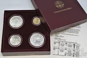 1996 Atlanta Olympics 4 Coin Set UNC $5 Gold Cauldron, Row H.Jump Soccer 21780