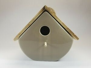 Beige Ceramic Hanging Bird House with Wooden Roof NWOT
