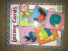 eeBoo Lacing Cards Friendly Animals New- dexterity, knot tying, tactile