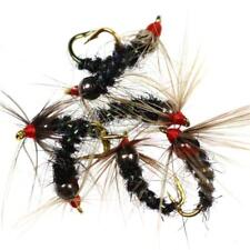 Trote Mosche Esca 6 Fly Fishing Humongous nero e argento