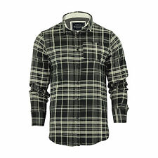 Mens Check Shirt Brave Soul Tame Flannel Brushed Cotton Long Sleeve Casual Top Black / Ecru Small