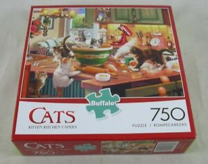 Cats Kitten Kitchen Capers 750pc Jigsaw Puzzle Buffalo Games SEALED #97070