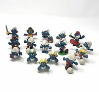 Vintage 70's 80's Smurf Figures Schleich Peyo  Lot of 16 Germany