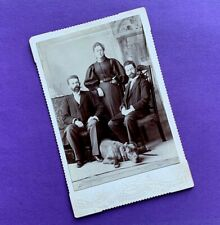 New listing Huge Dog & Family 1890 Cabinet Card Photo Chicago Great Dane Mutt Brothers Sis